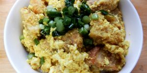 Vegan fried pork cutlet rice bowl
